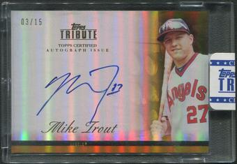 2012 Topps Tribute #MTR1 Mike Trout Gold Auto #03/15
