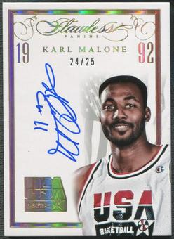 2014/15 Panini Flawless #21 Karl Malone USA Basketball White Auto #24/25