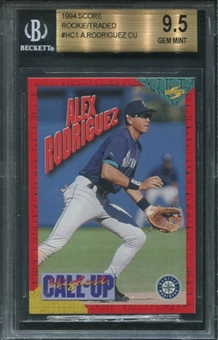 1994 Score Rookie/Traded #HC1 Alex Rodriguez CallUps BGS 9.5 GEM MINT
