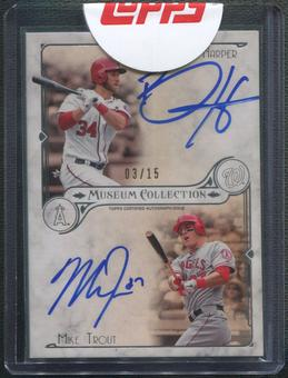 2014 Topps Museum Collection #DDAHT Bryce Harper & Mike Trout Dual Auto #03/15