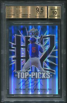 2013 Leaf Metal Draft #KB1 Kris Bryant Top Picks Prismatic Blue Rookie Auto #03/15 BGS 9.5 (GEM MINT)