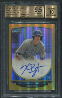 2013 Bowman Chrome Draft #KB Kris Bryant Draft Pick Gold Refractor Rookie Auto #22/50 BGS 9.5 (GEM MINT)
