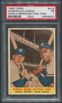 1958 Topps Baseball #418 World Series Batting Foes Mickey Mantle & Hank Aaron PSA 1 (PR)