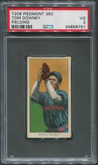 1909-11 T206 Baseball Tom Downey Fielding Piedmont 350 PSA 3 (VG)