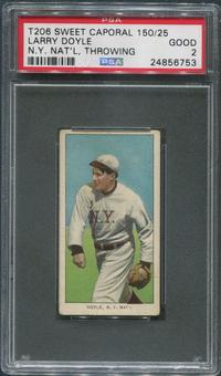1909-11 T206 Baseball Larry Doyle NY Nat'l Throwing Sweet Caporal 150/25 PSA 2 (GOOD)