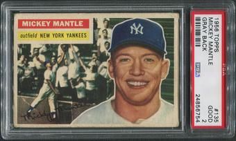 1956 Topps Baseball #135 Mickey Mantle Gray Back PSA 2 (GOOD)