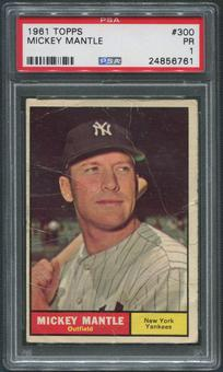 1961 Topps Baseball #300 Mickey Mantle PSA 1 (PR)