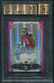 2014 Topps Chrome #185 Mike Evans Mini Pink Refractor Rookie Auto #59/75 BGS 9.5 (GEM MINT)