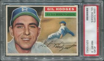 1956 Topps Baseball #145 Gil Hodges Gray Back PSA 8 (NM-MT)