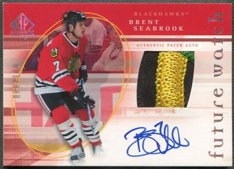 2005/06 SP Authentic #145 Brent Seabrook Limited Rookie Patch Auto #088/100