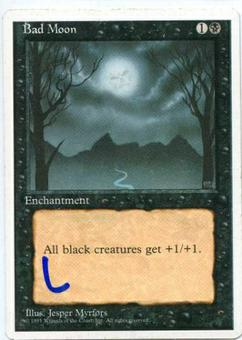 Magic the Gathering 4th Edition Single Bad Moon - SLIGHT PLAY (SP)