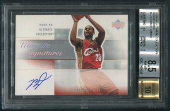 2003/04 Ultimate Collection #LJ LeBron James Signatures Rookie Auto BGS 8.5 (NM-MT+)