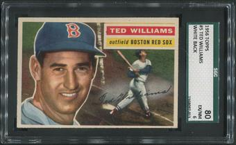 1956 Topps Baseball #5 Ted Williams White Back SGC 80 6 (EX/NM)