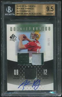 2005 SP Authentic #RFAR Aaron Rodgers Rookie Fabrics Patch Auto #09/15 BGS 9.5 (GEM MINT)