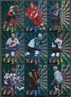 1997/98 Pinnacle Epix Game Emerald 16 Card Lot Sakic, Lindros, Forsberg