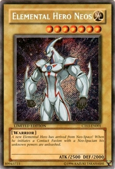 Yu-Gi-Oh Limited Edition Tin Single Elemental Hero Neos Secret Rare CT03-EN001