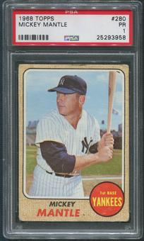 1968 Topps Baseball #280 Mickey Mantle PSA 1 (PR)