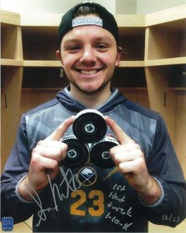 Samson Reinhart Autographed Buffalo Sabres Hat Trick 8x10 Hockey Photo