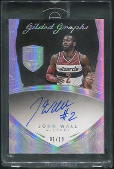 2014/15 Panini Eminence #GG-JW John Wall Gilded Graphs Silver Auto #01/10