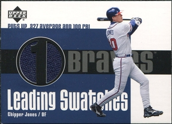 2003 Upper Deck Leading Swatches Jersey #CJ Chipper Jones AVG-RBI