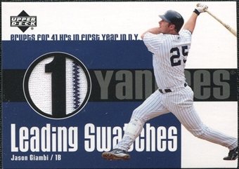 2003 Upper Deck Leading Swatches Jersey #JG Jason Giambi HR