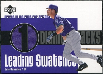 2003 Upper Deck Leading Swatches Jersey #LG Luis Gonzalez RUN
