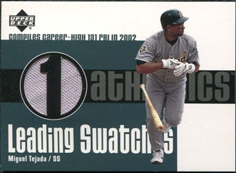 2003 Upper Deck Leading Swatches Jersey #MT Miguel Tejada RBI