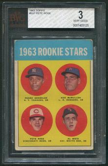 1963 Topps Baseball #537 Rookie Stars Pete Rose Rookie BVG 3 (VERY GOOD)