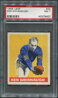 1948 Leaf Football #23 Ken Kavanaugh Rookie Yellow Stripes On Sleeves PSA 7 (NM)