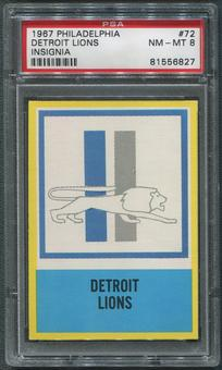 1967 Philadelphia Football #72 Detroit Lions Insignia PSA 8 (NM-MT)