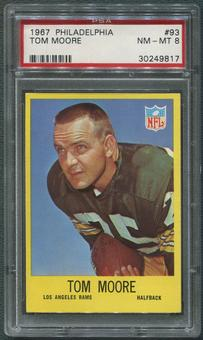 1967 Philadelphia Football #93 Tom Moore PSA 8 (NM-MT)
