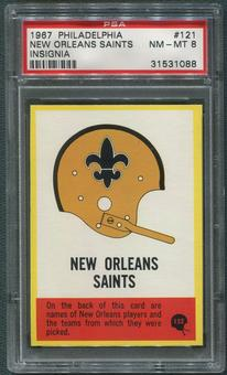 1967 Philadelphia Football #121 New Orleans Saints Insignia PSA 8 (NM-MT)
