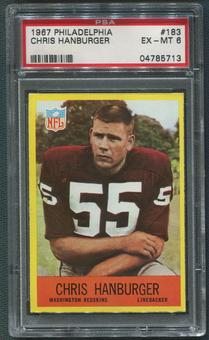 1967 Philadelphia Football #183 Chris Hanburger Rookie PSA 6 (EX-MT)