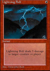 Magic the Gathering 4th Edition Single Lightning Bolt - SLIGHT PLAY (SP)