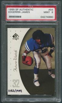 1999 SP Authentic Football #94 Edgerrin James Rookie #0183/1999 PSA 9 (MINT)