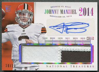 2014 Panini National Treasures #TNMJM Johnny Manziel Timeline Rookie Patch Auto #10/10
