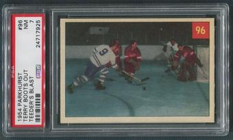 1954/55 Parkhurst Hockey #96 Terry Boots Out Teeder's Blast Terry Sawchuk & Ted Kennedy PSA 7 (NM)