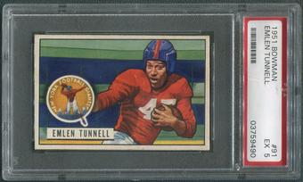 1951 Bowman Football #91 Emlen Tunnell Rookie PSA 5 (EX)