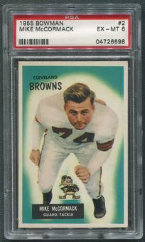 1955 Bowman Football #2 Mike McCormack Rookie PSA 6 (EX-MT)