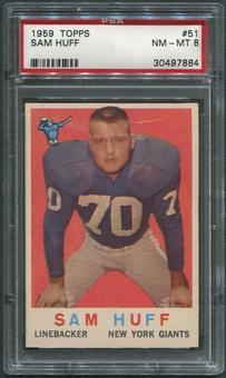 1959 Topps Football #51 Sam Huff Rookie PSA 8 (NM-MT)