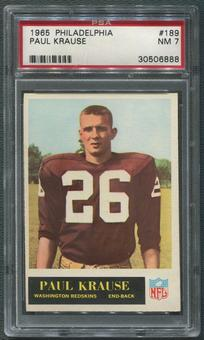 1965 Philadelphia Football #189 Paul Krause Rookie PSA 7 (NM)