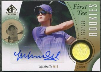 2014 SP Game Used #59 Michelle Wie First Tee Rookie Shirt Auto #022/199