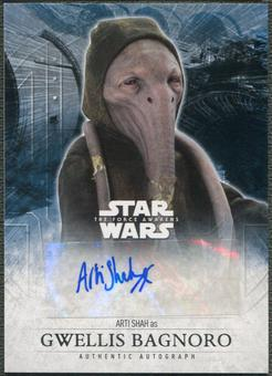 2016 Star Wars The Force Awakens Series Two Arti Shah as Gwellis Bagnoro Auto