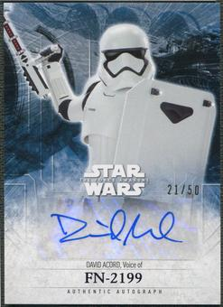 2016 Star Wars The Force Awakens Series Two David Acord as FN-2199 Lightsaber Purple Auto #21/50