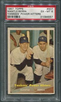 1957 Topps Baseball #407 Yankees Power Hitters Mickey Mantle Yogi Berra PSA 6 (EX-MT)