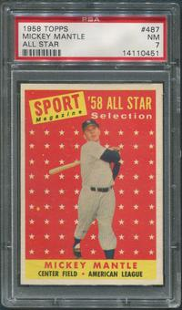 1958 Topps Baseball #487 Mickey Mantle All Star PSA 7 (NM)