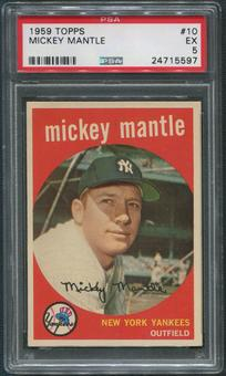1959 Topps Baseball #10 Mickey Mantle PSA 5 (EX)