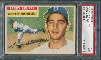 1956 Topps Baseball #79 Sandy Koufax Gray Back PSA 7 (NM)