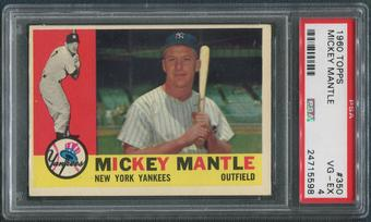 1960 Topps Baseball #350 Mickey Mantle PSA 4 (VG-EX)