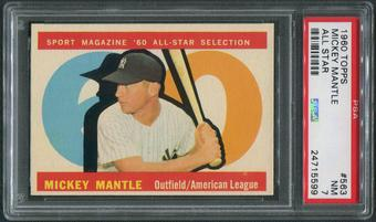 1960 Topps Baseball #563 Mickey Mantle All Star PSA 7 (NM)